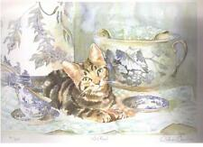 GILLIAN CAROLAN ~WISTFUL  -  / BROWN CAT - Signed Limited Edition print