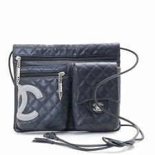 Authentic CHANEL Black Lambskin CC Logo Cambon Shoulder Bag A28125 from Japan