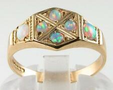 UNUSUAL 9K 9CT GOLD  ART DECO FIERY OPAL HEXAGON FACE RING FREE RESIZE