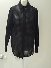 Sonia Rykiel Black Self Coloured Gingham And Mesh Detailed Shirt Bnwot
