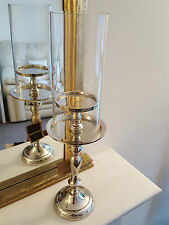 Stunning New Nickel Plated Glass Hurricane Candlestick Candle Holder