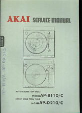 Factory Akai AP B110 D210 C Turntable Record Player Service Manual Parts List