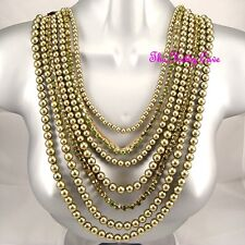 Olive Green Multi Layered Pearl Statement Feature Necklace w/ Swarovski Crystals