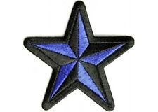 "(G16) BLUE & BLACK Star 3"" sew / iron on patch (1479) Biker Nautical Cap"