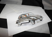 VW VOLKSWAGEN BEETLE KAFER NEW ART PRINT CHRISTMAS FROHE WEIHNACHTEN NOEL CARD +