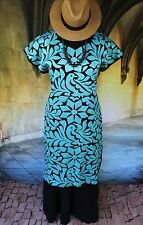 Turquoise & Black Hand Embroidered Huipil Dress Jalapa Oaxaca Mexico Hippie