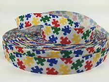 "BTY Printed 7/8"" Colorful Autism Grosgrain Ribbon Hair Bows Lisa"