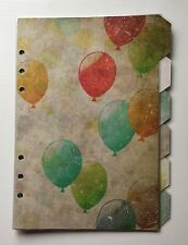 Filofax A5 Organiser Planner - Vintage Style Balloon Dividers - Fully Laminated