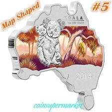 2014 Australia Map Shaped Series Koala 1oz Silver Coin Mintage 6000 COA & Box !!