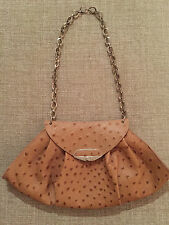 FURLA Tan ostrich embossed leather bag.