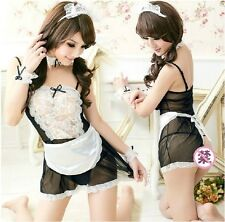 Sexy Lingerie Fancy Dress Maid Costume Cosplay Outfit 6PCS Maid set 16/18