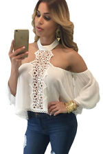 White Chocker Neck Bare Shoulders Flare Crop Top Blouses Sexy Womens Club Wear