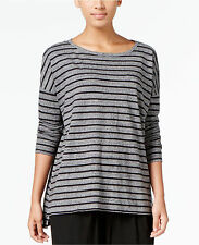 NWT -XL-Eileen Fisher Ach  Striped Boat-Neck  Boxy Tee Top $138