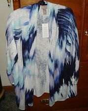 NWT CHICO'S OPEN FRONT IKAT PRINT CARDIGAN  JACKET 2 M L 12/14 NEW