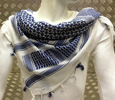 100% Cotton Shemagh / Arab Scarf / Pashmina / Wrap / Sarong. Blue & White - NEW