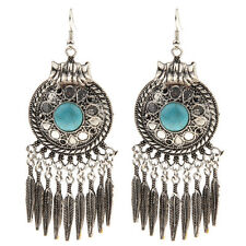 Women Bohemian Style Lady Long Pendant Vintage Turquoise Tassel Earrings