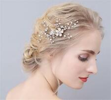 Rhinestone Headdress Bridal Hair Comb Gold Pearls Floral Wedding Headpieces
