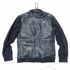 NEW KENNETH COLE LAMB LEATHER COTTON KNIT SLEEVE MOTO MOTORCYCLE JACKET L