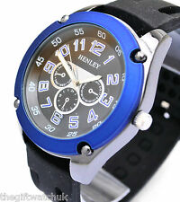 Henley Mens BIG Face Watch, Bright Blue Rim & Black Silicone Strap, New In Box