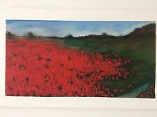 Original Oil Or Acrilic Painting English Poppy Fields Landscape  Around 1970