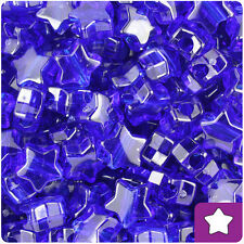 250 Midnight Blue Transparent 13mm Star Pony Beads Plastic Made in the USA