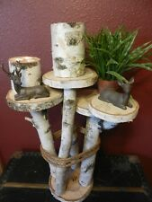 Rustic/Primitive White Birch Handmade Wood End Table For Anyroom