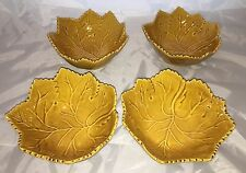 "Olfaire Majolica Portugal Gold Maple Leaf 7"" Autumn Dish Bowl Set of 4 NEW"