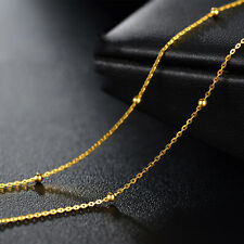 20 INCH Pure 24K Yellow Gold Necklace Women's Lucky O Chain With Bead