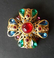 Sphinx Signed Vintage 60's Rhinestone Maltese Cross Brooch Pin Beautiful