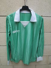 VINTAGE Maillot football CUP'S vert nylon années 80 France trikot jersey shirt