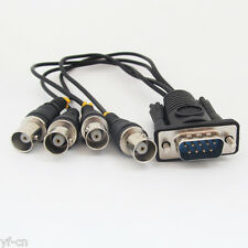 1set D-Sub 9pin 2 Row Male DE9 RS-232 to 4 BNC Female Video Adapter Cable Black
