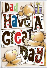 Dad Have A Great Day. Father's Day Card. Teddies With Cards & Gifts.