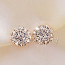 1Pair Women Gold Shining Rhinestone Crystal Ear Studs Earrings Jewelry Gift