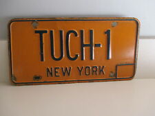 TUCH-1  N .Y LICENSE PLATE YELLOW METAL AUTO, CAR, TRUCK