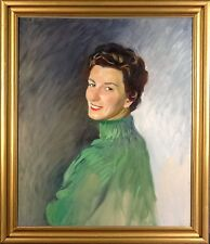 Exquisite Large ca1965 Lady Portrait Painting by Charles Merrill Mount 1928-1995