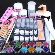Acrylic Powder Glitter Nail Brush Files Deco False Tips Nail Art Tools Kit Set