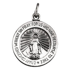 MIRACULOUS MEDAL 14K White Gold 18mm Round Virgin Mary Large 2 Sided R5019