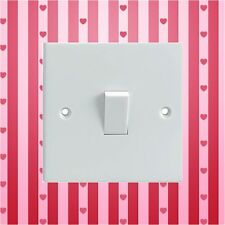 Pink Red Stripes & Hearts Electrical Light Switch Surround Printed Vinyl Sticker