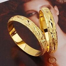 2Pcs 18k Yellow Gold Filled Carved Bangle 60mm Amazing Bracelet Fashion Jewelry