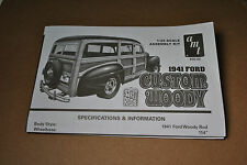 """AMT 1/25 FORD CUSTOM WOODY """"STREET RODS"""" COMPLETE INSTRUCTIONS GUIDE SHEET!"""