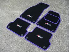 Black/Purple Car Mats - Audi A4 (B6+B7 2001-2008) + S-Line Logos (x4) + Fixings