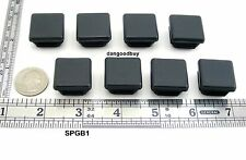 "8 Square Plastic Plugs - Glides To Fit 1"" Tubular Leg - Feet - Ribbed Insert"