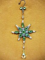 """Lime Green Jeweled SNOW FLAKE  Christmas Ornament Decoration Ovid Facet Gems 10"""""""
