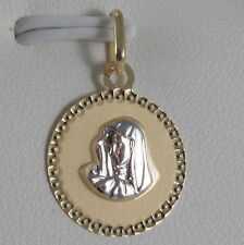 SOLID 18K WHITE YELLOW GOLD MEDAL VIRGIN MARY MADONNA ENGRAVABLE, MADE IN ITALY