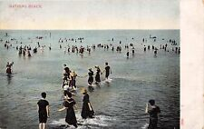 BATHING BEACH~TYPICAL ATTIRE FOR THE PERIOD~GREETING POSTCARD 1900s
