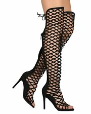 Womens Cut Out Lace Knee High Heel Gladiator Boots Ladies Strappy Sandals Size