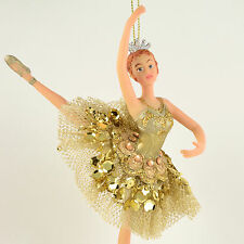 Nutcracker Ballet Ballerina in Gold Resin 6.5 inches Christmas Ornament NEW