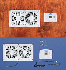 DUAL Mega-fan Cabinet AV Cooling Fans w/Digital thermostat (White model)