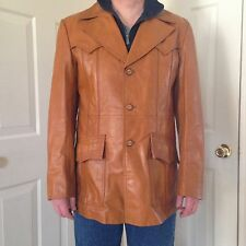 Vintage 1970's Mens Carmel Leather Jacket Coat JC Penny Size 42 Blazer Long