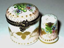 LIMOGES BOX - ROUND FLORAL & MATCHING THIMBLE - FLOWERS & GRAPES - FRUIT